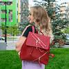 Монотонный рюкзак с текстурированной вставкой (красный)