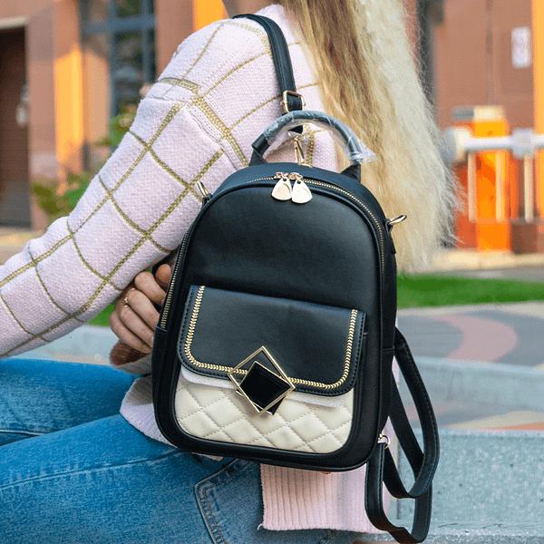 черный рюкзак с белой вставкой